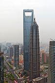 Shanghai World Financial Center y la Torre Jin Mao. Vista desde la Torre Perla Oriental