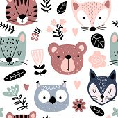 Eamless Pattern With Cute Animals And Flowers In Scandinavian Style. Animal Heads Cartoon Background poster