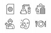 Chemistry Lab, Repairman And Bio Shopping Icons Simple Set. File Management, Healthy Face And Food S poster