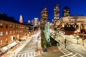 Boston Downtown cityscape with skylines building sunset at Boston city, MA, USA. poster