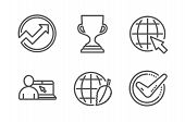 Internet, Online Education And Award Cup Icons Simple Set. Environment Day, Audit And Confirmed Sign poster