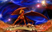 Dragon In Space Over The Parchments