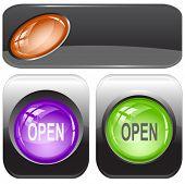 Open. Internet buttons. Raster illustration. Vector version is in my portfolio.