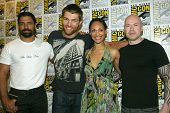 SAN DIEGO, CA - JULY 13: Manu Bennett, Liam McIntyre, Cynthia Addai-Robinson and Steven S. DeKnight arrive at the 2012 Comic Con convention press room on July 13, 2012 in San Diego, CA.