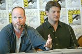 SAN DIEGO, CA - JULY 13: Joss Weedon and Nathan Fillion attends a  press conference for