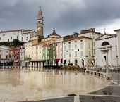 Tartini Square, The Largest And Main Square In The Town Of Piran, Slovenia.