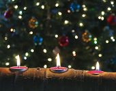 A Trio Of Christmas Candles In An Aspen Log