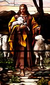 Stained glass window of Jesus the Good Shepherd