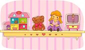 Illustration of a Shelf Holding a Teddy Bear, a Doll House, a Rag Doll, and a Music Box