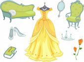 Illustration of Princess Related Design Elements