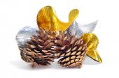 some pine cones and undulating golden and silver garland on a white background