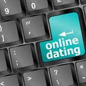 Online Dating Button On Computer Keyboard Showing Love Concept