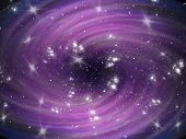 Violet cosmic whirl background with stars