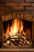 stock photo of cozy hearth  - Close - JPG