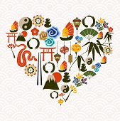 image of chinese new year 2013  - Chinese New Year of the Snake multicolored icon set composition heart - JPG