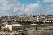 stock photo of mosk  - View looking over the temple mound in Jerusalem