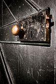 Antique Door Lock On Old Vintage Solid Wood Door