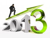 High resolution conceptual 3D 2013 year with a growing arrow isolated on white background with a bus