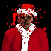 image of festering  - A Zombie father Christmas covered in blood - JPG