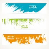 Color vector handmade abstract brush strokes banners