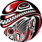 pic of mew  - Haida style tattoo design created with animal images - JPG