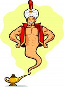 stock photo of genie  - A vector image of a male genie appeared from a magic lamp - JPG
