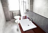 hoher Kontrast rot Badezimmer