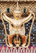 stock photo of garuda  - The Garuda at the Emerald Buddha Temple Bangkok Thailand - JPG