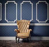 decorated wall with vintage armchair (cg and photo elements compilation)
