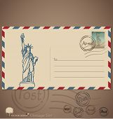 Vintage envelope designs with postage stamp. Vector illustration.