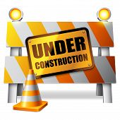 stock photo of cone  - Under construction barrier - JPG