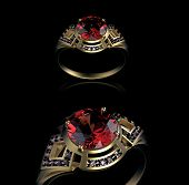 Gold Wedding Ring with diamond. Holiday symbol. Ruby gemstone