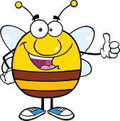 Happy Pudgy Bee Cartoon Character Giving A Thumb Up