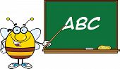 Pudgy Bee Character With Glasses With A Pointer In Front Of Blackboard With Text