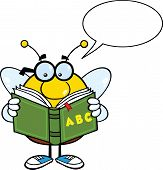 Pudgy Bee Character With Glasses Reading A ABC Book