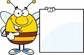 Pudgy Bee Cartoon Character Showing A Blank Sign