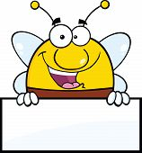Pudgy Bee Cartoon Character Over Blank Sign