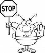 Black And White Pudgy Bee Holding A Stop Sign