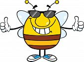 Smiling Pudgy Bee With Sunglasses Giving A Double Thumbs Up