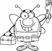 Black And White Pudgy Bee Plumber With Wrench And Tool Box