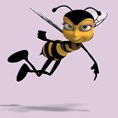 Zeer zoete Render van een honingbij In geel en zwart met uitknippad