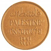 image of mandates  - Israeli Mil coin from the British Mandate Era isolated on white background - JPG