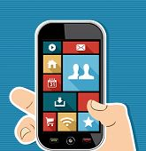 Human Hand Mobile Colorful Social Media Ui Apps Flat Icons.