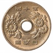 stock photo of japanese coin  - 50 japanese yen coin isolated on white background - JPG
