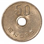 pic of japanese coin  - 50 japanese yen coin isolated on white background - JPG