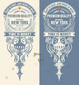 Premium Quality  banner. Baroque ornaments and floral details. Old paper texture background,