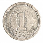 picture of japanese coin  - one japanese yen coin isolated on white background - JPG
