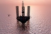 Oil production in the evening sky.