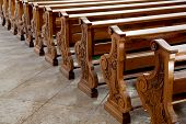 Benches In Catholic Curch At Cortina D'ampezzo