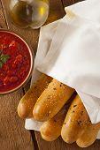 Homemade Bread Sticks With Marinera Sauce